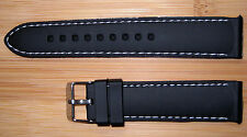22mm Black Silicon watch Band/Strap With White Stitching, and a  silver buckle