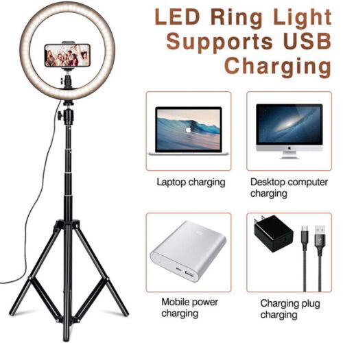 "10/"" LED Ring Light Dimmable Lighting Kit Phone Selfie Tripod Makeup Live Lamp"