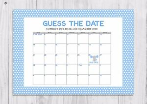 Baby Boy Personalised Guess the Baby/'s Due Date Game Blue Elephant 2 Blue