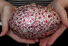 Judith Leiber PINK SWAROVSKI CRYSTAL EGG CLUTCH SHOULDER BAG EVENT MINAUDIERE