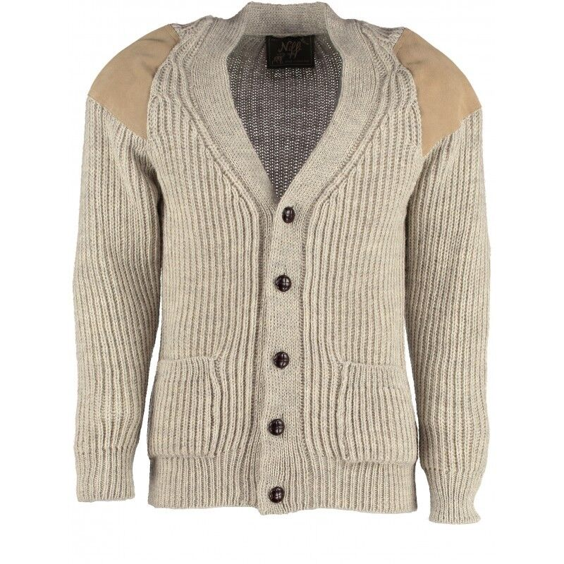 Classic British wolleoutdoor cardigan - suede patches & hip pockets.   41068