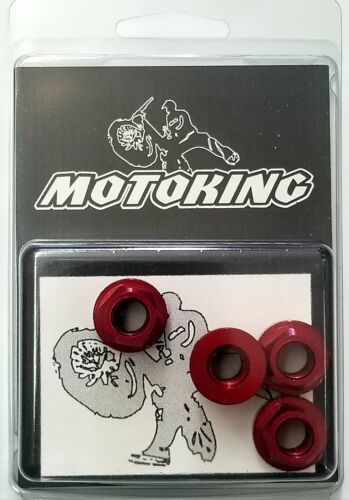 "Axle Nuts 3//8/""x26t MotoKing BMX Deez Nuts Red Aluminum Flanged Set of 4"