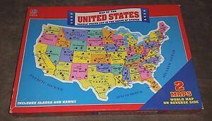 Sealed Vintage United States Puzzle World Map Reverse Side Milton ...
