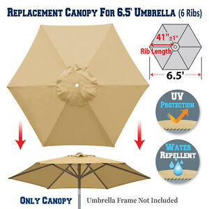 Details about 6 5ft Patio Umbrella Replacement Canopy 6 Rib Parasol Top  Cover Outdoor Market