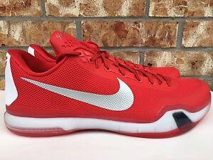 9a8c88a2b074 Men s Nike Kobe X 10 TB Basketball Shoes Gym Red Silver White Sz ...