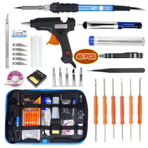 45IN1-Electric-Soldering-Iron-Gun-110V-DIY-Tool-Kit-amp-Hot-Melt-Glue-Gun-amp-Sticks