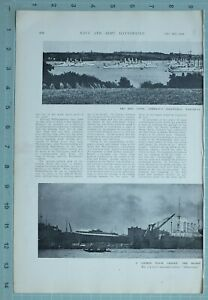 1914 WW1 PRINT KIEL CANAL GERMAN FLEET LYING ANCHOR SHIPYARD HAMBURG NAVAL BLOHM