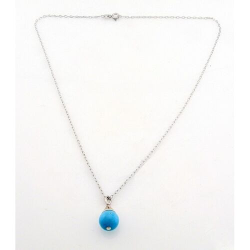 Sterling Silver Necklace with Turquoise Pendant