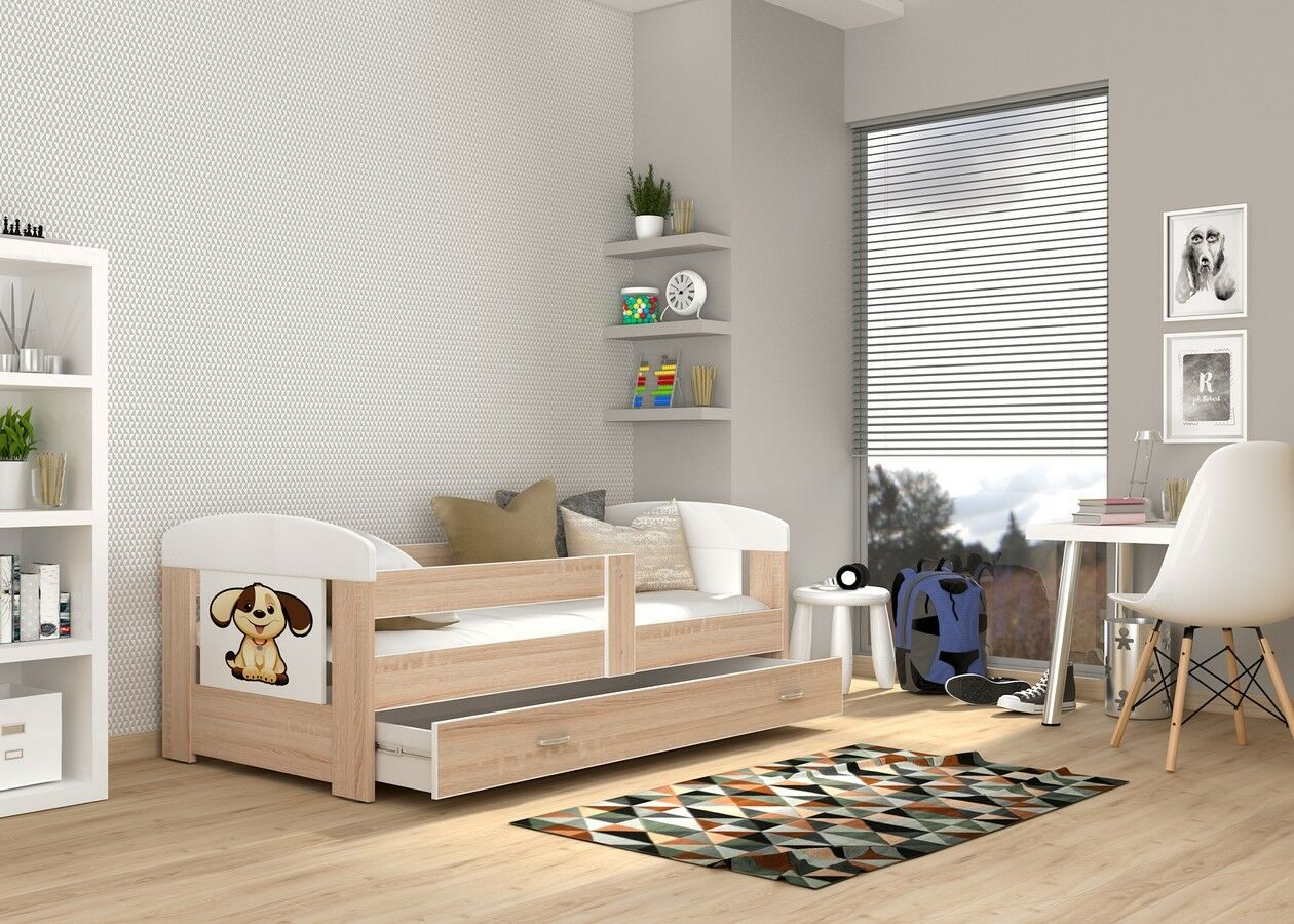 Bébé Lit Simple Pour Enfant + matelas + tiroir + Autocollant + livraison gratuite