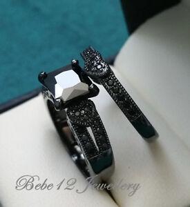 Charming Image Is Loading Engagement Wedding Ring Set Black Stone 18KGP Black