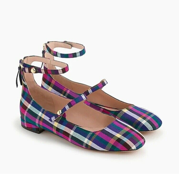 NIB J. Crew Women's Poppy Two-Strap Ballet Flats in Plaid - Size 12