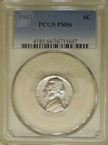 1953-Jefferson-PCGS-PR-66-GEM-proof-nickel-only-128800-minted
