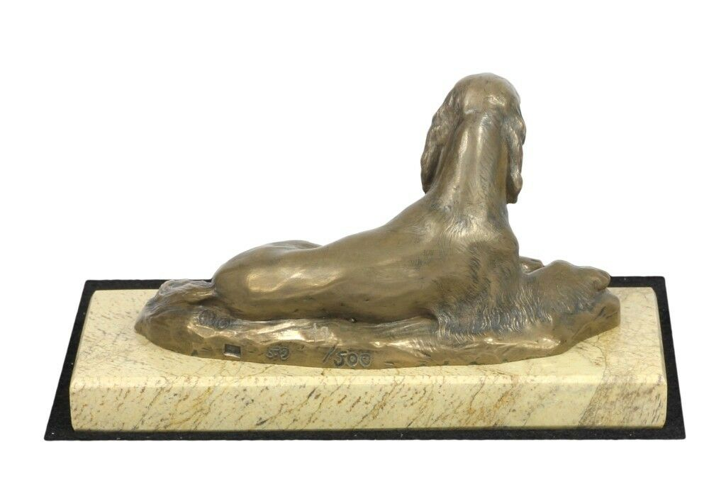 Setter - sculpture made of Cold Cast Bronze on the sand marble, Art Dog