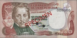 Colombia P-422 Fifty Pesos Oro Year 1983 Flowers Uncirculated Banknote