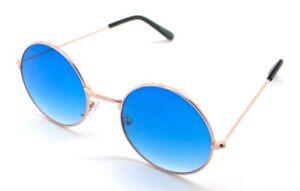 PT-Lunettes-de-Soleil-Hippie-Retro-Ronde-Homme-Femme-UV-400-Bleu