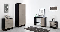High Gloss Luxe Stone Grey & Black Double Wardrobe Chest Bedside Furniture Unit