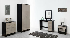 High-Gloss-Luxe-Stone-Grey-amp-Black-Double-Wardrobe-Chest-Bedside-Furniture-Unit