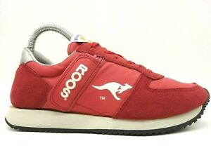 kangaroos red leather casual athletic side pocket sneakers