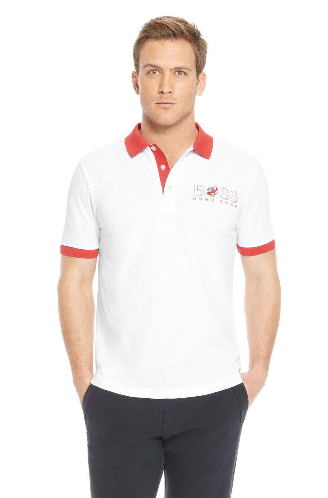 NEW HUGO BOSS WHITE ENGLAND FOOTBALL TEAM 3 LIONS PADDY PRO FLAG POLO T-SHIRT XL