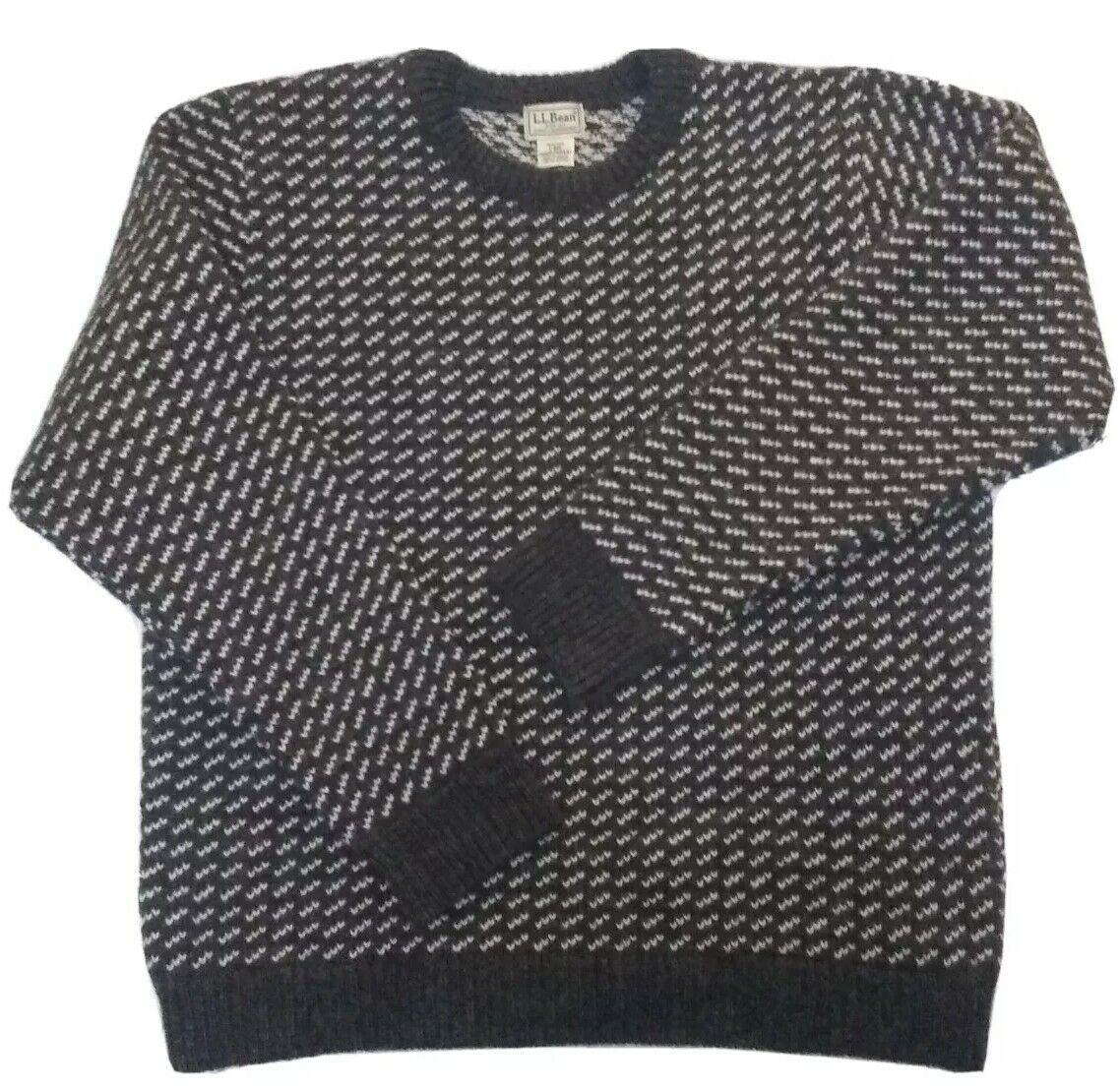 LL Bean fisherman sweater Large wool birds eye gr… - image 1