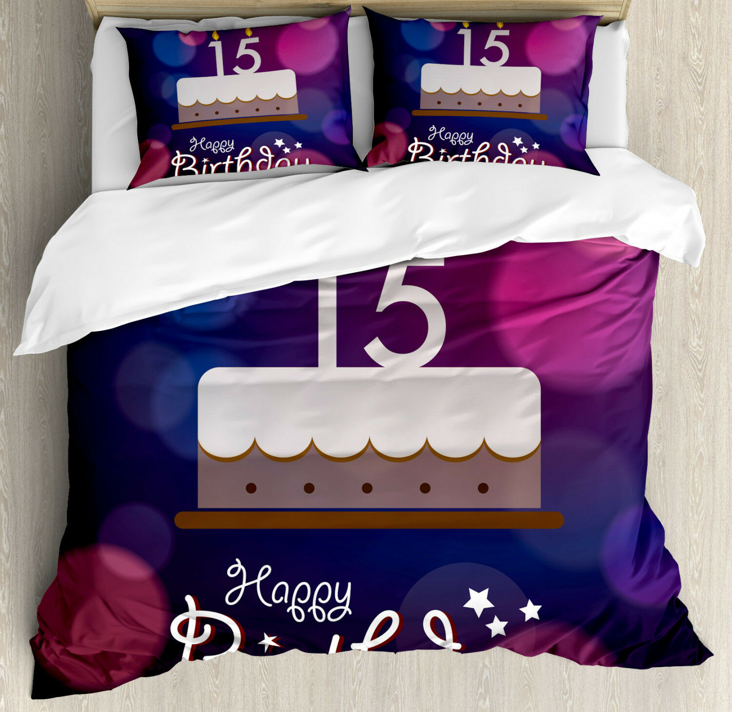 Abstract Duvet Cover Set with Pillow Shams Fifteen Birthday Cake Print