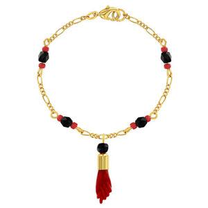 "18k Gold Plated Evil Eye Protection Red Figa Hand Amulet Good Luck Bracelet 7.5"""