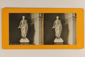 Francia París Museo Del Louvre Estatua Augusto c1900 Foto Estéreo Analógica