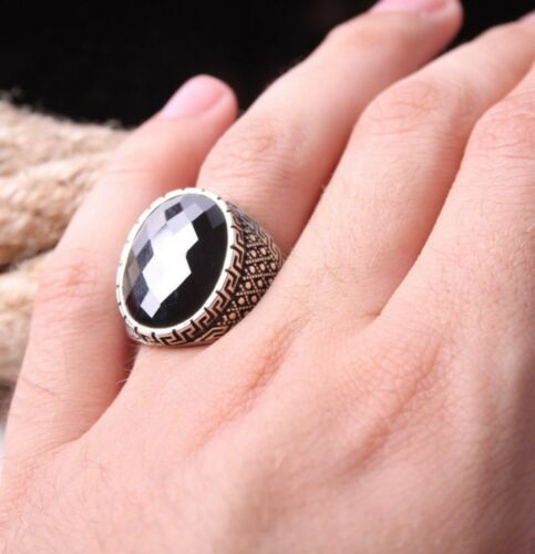 turkish jewelry 925 Sterling Silver black onyx stone Men Man ring ALL SİZE us 94