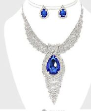 Rhinestone Silver Crystal Royal Blue Pageant Necklace Jewelry Set Stud Earring
