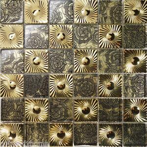 10SF Gold Floral Metal Decor Insert Glass Mosaic Tile Kitchen Backsplash Show
