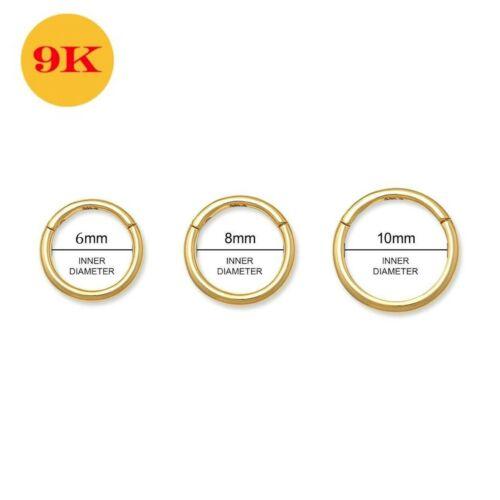 9K Oro Amarillo Sólido Nariz Oreja Tragus Anillo de segmento con Bisagras Clásico 18G