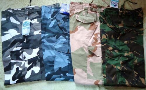 Uomo Army Cargo Camo combattere duro lavoro Pantaloni Girovita 50-62 NUOVO FULL FIT BIG
