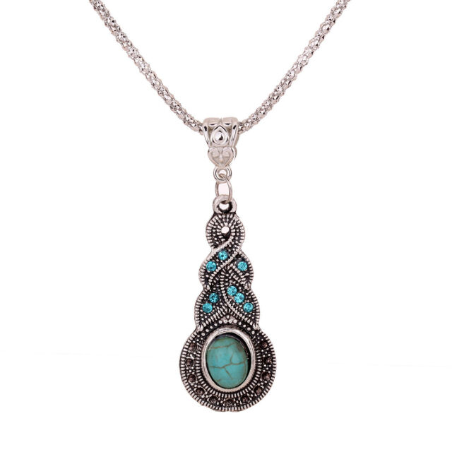 Tibetan Silver Crystal Turquoise Pendant bib chain Necklace sweater Jewelry Xmas