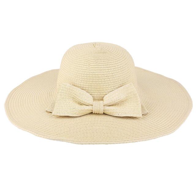 dad8d63b62daa Floppy Foldable Women Lady Bow Straw Beach Sun Summer Large Hat Wide Brim  Beige