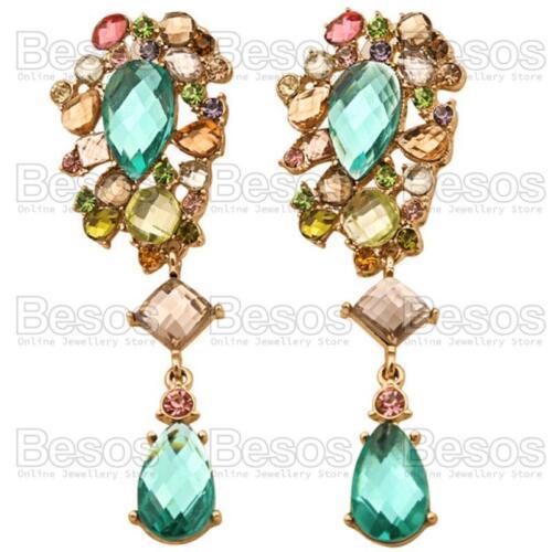 "3/""long MULTI aqua GOLD FASHION EARRINGS green RHINESTONE crystal drop GIFT BAG"