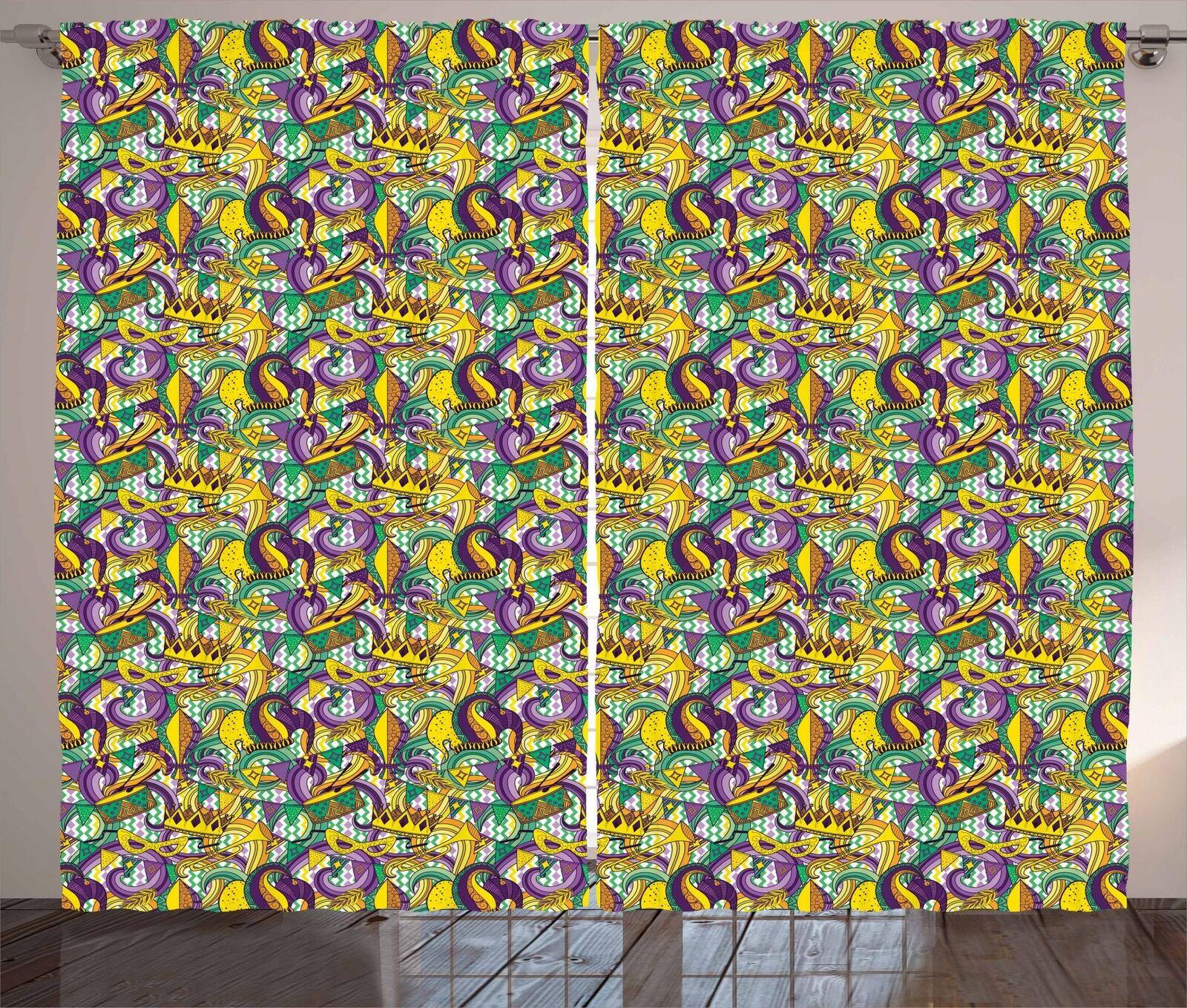 Nueva Orleans Cortinas 2 Panel Set para Decoración 5 Tamaños Disponibles Ventana Cortinas