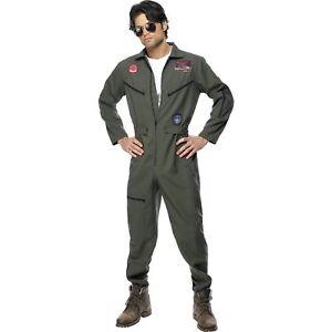 Aviator Pilot Fancy dress costume Mens Military Uniform Top Gun Hat Sunglasses