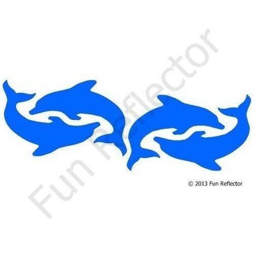 Blue Dolphin Bicycle Reflective Stickers Decals