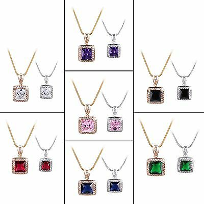 Alluring design! 18k white gold filled Radiant Pink Sapphire Pendant chain 18''