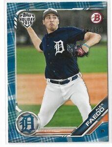 2019 Topps Bowman Holiday Blue Festive Parallel Alex Faedo Detroit Tigers 62/150
