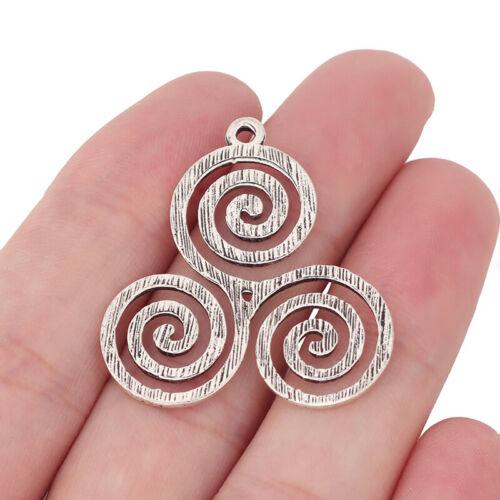 10 x Tibetan Silver Celtic Knot Triskelion Triple Spiral Swirl Charms Pendants