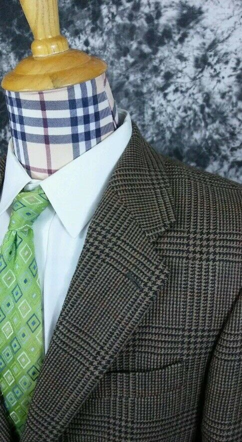Mens 42R Ralph Lauren bluee Label Glen Plaid 2 Button Sport Coat
