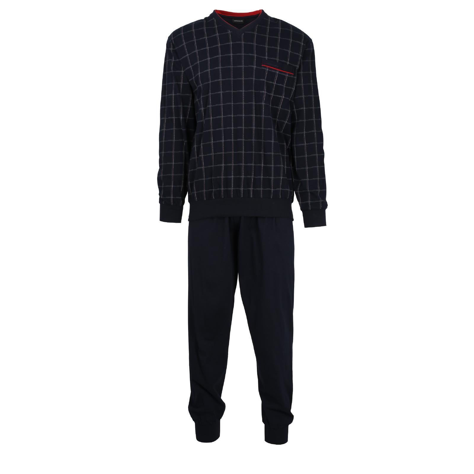 Götzburg Pyjama Schlafanzug lang  Gr. 48 navy  Bündchen Single Jersey V-Ausschn.