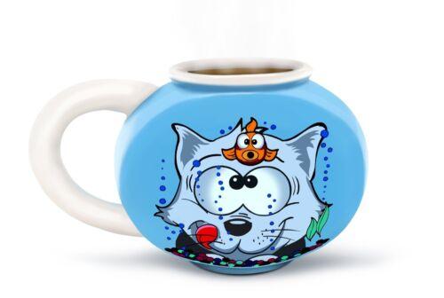 Something Fishy Fishbowl Mug with Cat and Goldfish Artwork