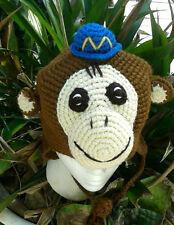 Handmade Crocheted Kids Knit Monkey Cap Hat Beanie Toddler Child Tropical M Mono