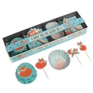 Dotcomgiftshop-Rusty-le-renard-de-cuisson-Set-24-Cupcake-Fee-Gateau-cas-amp-24-Toppers