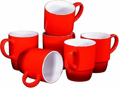 Bruntmor Porcelain Stackable Coffee Cups Mugs Set Of 6 18 Ounce