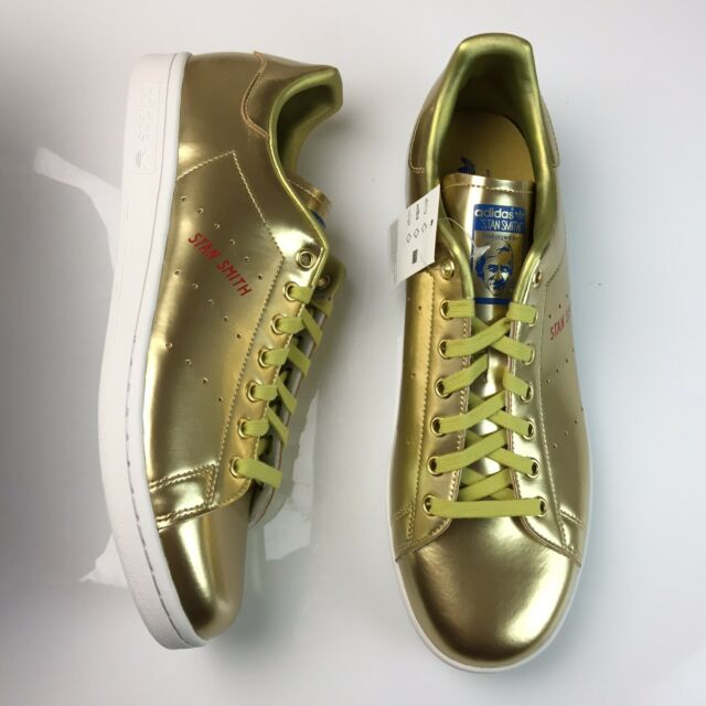 Adidas Stan Smith Gold Leather Shoes Mens Tennis Sneakers Size 12 FW5364 NEW