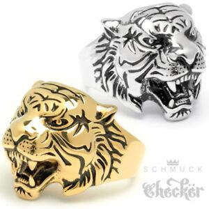 Gut Tiger Ring Edelstahl Silber Gold Hochwertig Detailliert Herren Männer Schmuck PüNktliches Timing