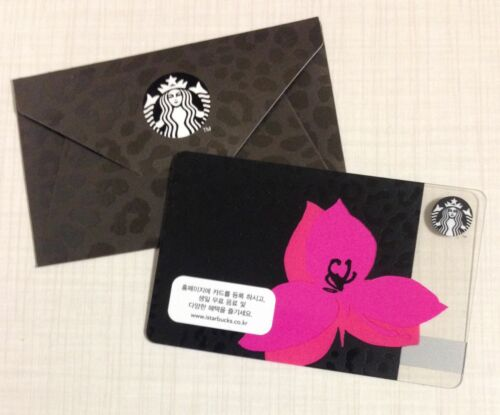 Starbucks Korea 2014 Pink Flower Card with Matching Sleeve